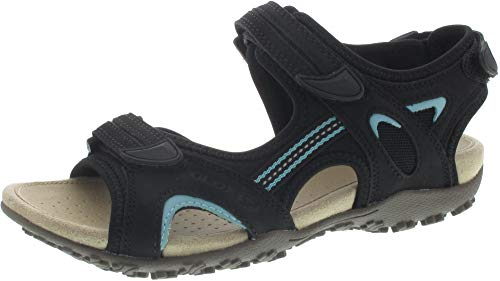 Geox Sandal STREL D9225B Damen Trekking Sandalen,Frauen Outdoor-Sandale,Sport-Sandale,Aussensteg,3-Fach Klett,SCHWARZ,38