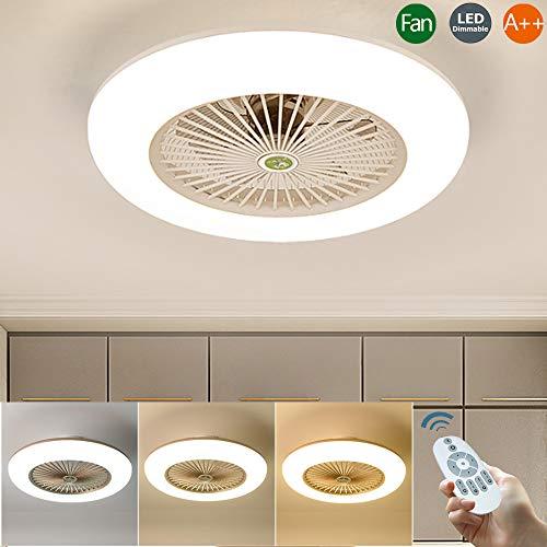 Deckenventilator Mit Beleuchtung LED-Licht Dimmbar Fernbedienung 32W Moderne Ventilator Deckenleuchte Einstellbare Leise Unsichtbare Fan Windgeschwindigkeit Schlafzimmer Wohnzimmer Lampe,Weiß