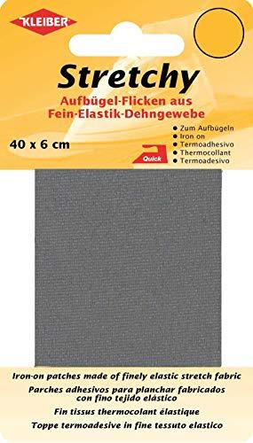 Kleiber + Co.GmbH Stretchy Aufbügel-Flicken, 100% Polyester, grau, 40 x 6 x 0,05 cm, 2