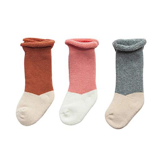 DEBAIJIA 3 Pares de Espesar Calcetines de Algodón para Bebés Infantes Niños Calcetines de Becerro Respirable Encantador Color de Empalme de 1-3 años para Niño Niña Recién Nacido - Gris Naranja Rosa