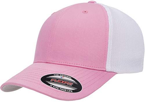 Flexfit Unisex-Erwachsene Trucker Mesh Fitted Cap-2-Tone Kappe, rosa/weiß, Einheitsgröße