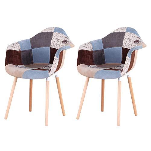GrandCA Home 2er Set Patchwork Stuhl, Esszimmerstuhl, Wohnzimmer Empfangsstühle, Küchenstuhl (ef-2 stuhle)