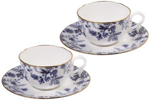 Noritake Sorrentino Tasse und Untertasse, Blau, 2 Stück