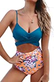 CUPSHE Women's Blue Wrap Floral Back Tie High Waisted Bikini Set Moulded Cup, M