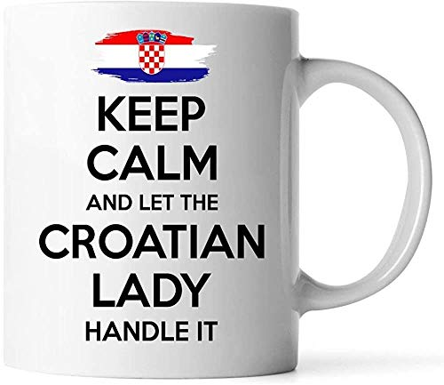 Keyboard cover Mugs – Croatian Gift for Women, Grandma, mom, Aunt, Girlfriend, 11 oz White Coffee Mug – Keep Peace and let The Croatian Lady Handle it
