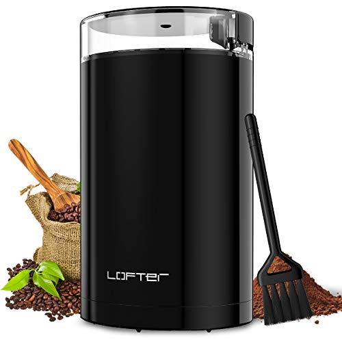 Review LOFTer Coffee Grinder, Electric Portable Spice & Nut Grinder with Stainless Steel Blade, Larg...
