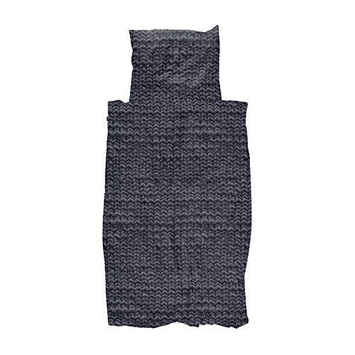 Snurk bettwäsche anthrazit 135 x 200 100% Baumwolle Reißverschluss Strickmuster kuschelig ausgefallen modern Twirre Chacoal Black