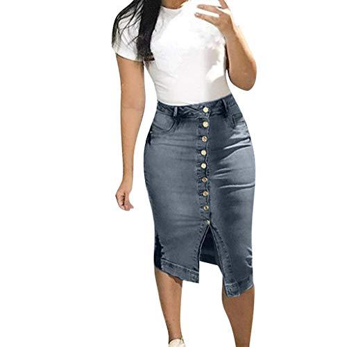 LeeMon Damen Lange Jeansrock, Jeans Rock mit Knopf Jeansrock Sommer Button Design Split vorne offene Röcke