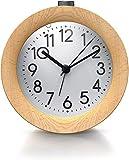 Bearware - Sveglia Classica da Comodino – Vero Legno d'Acero – Allarme a Volume Crescente - Illuminabile Bianca - Snooze – silenziosa - Funzionamento a Batteria – Diametro 10 cm