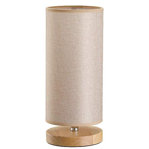 Bakaji Lampada da Tavolo Luce Lampadina E27 Max 25W Base rotonda in Legno Paralume in Tessuto Lume Comodino Camera da Letto Abatjour Design Moderno Dimensioni: 34 x 14 cm