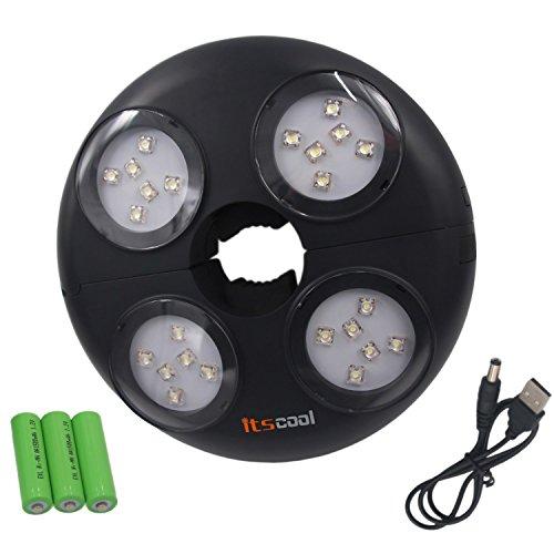 Sonnenschirmleuchten, Itscool Sonnenschirm LED Beleuchtung, 24 LED Hohe Helligkeit Wiederaufladbare Akku innen 280 Lumen