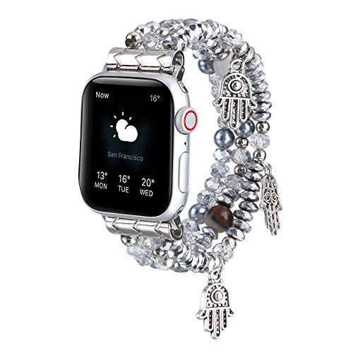 TINOBAND Compatible with Apple Watch Bands 44mm 42mm 40mm 38mm, Hamsa hand Beaded Bracelet Elastic Apple Watch Bands for Women Men Wristbands for Apple Watch iWatch SE Series 6 5 4 3 2 1, 38mm/40mm