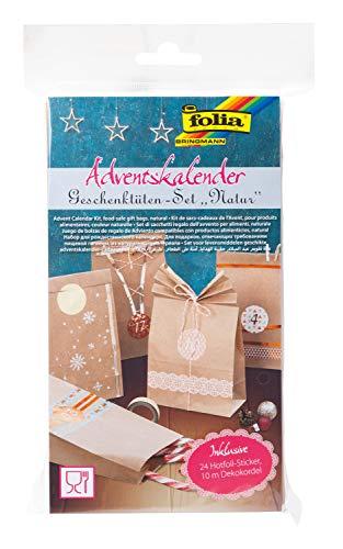 folia 9402 - Adventskalender-Set mit 24 lebensmittelechten Papiertüten naturfarben, Kordel und Zahlensticker