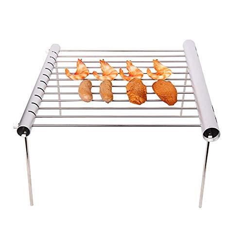OurLeeme Griglia del BBQ, griglia del barbecue dell'acciaio inossidabile Griglia di campeggio portatile del barbecue Griglia di campeggio compatta pieghevole per il campeggio, fare un'escursione