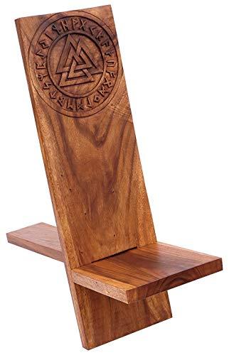 Windalf Vintage Wikinger Asatru Holzstuhl Thora 90 cm Valknut mit Runen Vikings Steckstuhl Handarbeit Holz