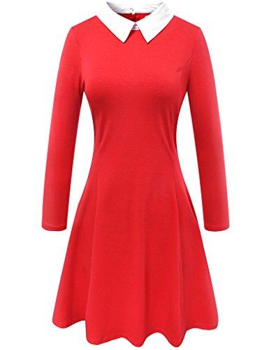 Aphratti Women's Long Sleeve Casual Peter Pan Collar Flare Dress Red Medium