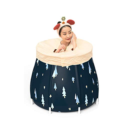 YzDnF Bañera de remojo Bañera doméstica Bañera Plegable para niños Bañera para niños Bañera Plegable Barril Bañera Simple (Color : Dark Blue, Size : 70x70cm)
