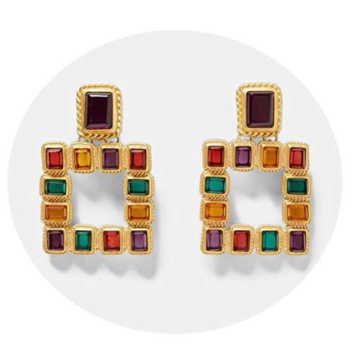 Presock Pendientes Mujer,Aretes Vintage ZA Multicolored Square Drop Earrings For Women Metal Dangle Shiny Christmas Gift Jewelry Bohemian Hot Multicolored