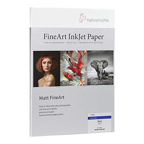 "Hahnemuhle matte photo rag, 100 % rag, smooth, bright white inkjet paper, 19 mil. , 308 g/ma, 8. 5x11"", 25 sheets"