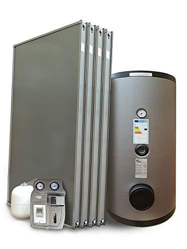 Kit impianto solare termico a svuotamento a pannelli piani per produzione Acqua Calda Sanitaria (4 pannelli, bollitore 500 litri doppia serpentina)