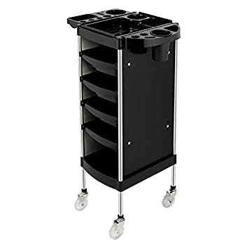 Mefeir Salon Trolley Cart with ABS Drawers One Metal Holder Rolling Wheels for Stylist Hairdresser Beauty Furniture Hair Styling Storage Station Color Tray