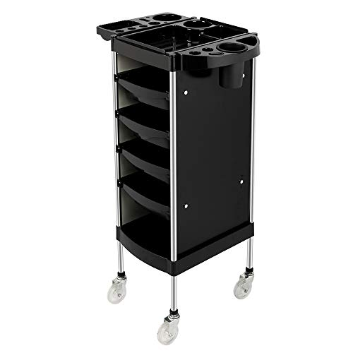 Mefeir Salon Trolley Cart with ABS Drawers, One Metal Holder, Rolling Wheels for Stylist Hairdresser, Beauty Furniture Hair Styling Storage Station Color Tray