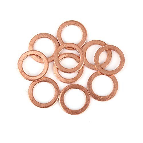 X AUTOHAUX 10Stk. Kupferscheibe Flach Dichtung Kupfer Unterlegscheibe Ring Dichtring Flachdichtung für Auto 14 x 20 x 1,5mm