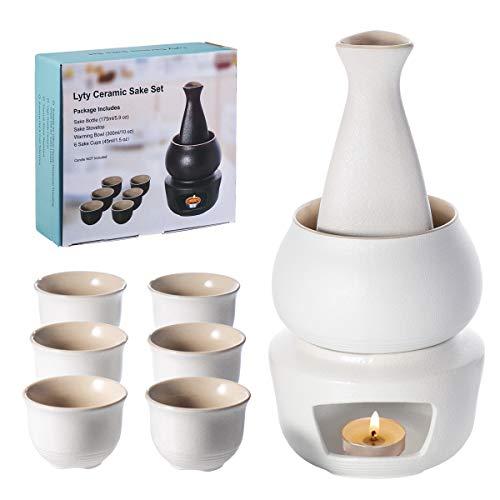 Lyty Sake Set e tazze con scaldino, tradizionale porcellana giapponese ceramica calda kit di bevande saki caldo 7 pezzi include 1 fornello 1 ciotola riscaldante 1 bottiglia di sake 4 tazze