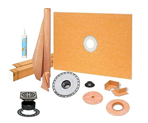 "Schluter Kerdi Shower Kit 48"" x 72"" Shower Tray (KSK1220/1830) with 2"" PVC Bonding Flange, Wedi Joint Sealant and 4"" Stainless Steel Grate"