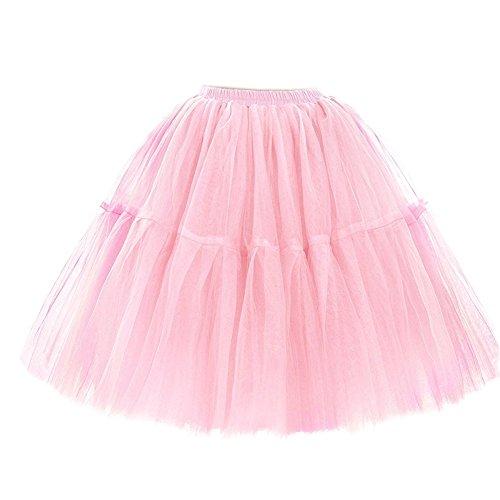 SCFL Donna Della Principessa del partito di promenade balletto Adulti Tutu Stratificata Organza Lace Minigonna Sottoveste M-L / 31.5-47.24IN Rosa