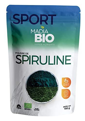 Madiabio - Sport - Poudre de Spiruline 150 g - BIO - Détoxifiant ; Riche en protéines ; Riche en fer ; Antioxydant