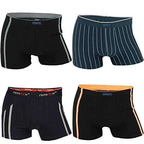 REMIXX Herren Baumwolle Boxershorts Retroshorts Übergrößen, 4er Pack (M/5) bis 6XL/12 (L/6)
