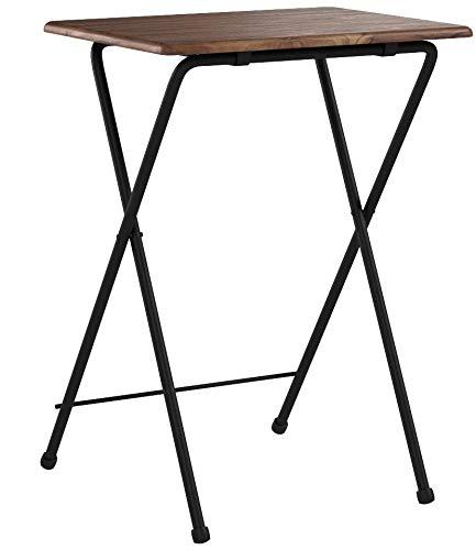 [山善]サイドテーブル(折りたたみ)幅50×奥行48×高さ70cmミニハイタイプ傷がつきにくい完成品アンティークブラウン/ブラックYST-5040H(ABR)在宅勤務