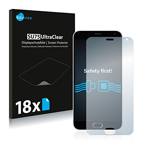 Savvies 18x Schutzfolie kompatibel mit Meizu M2 Note Bildschirmschutz-Folie Ultra-transparent