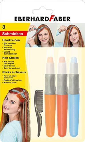 Eberhard Faber 579201 Trendige Frisuren, 3 Haarkreiden in Basic Farben inklusive Kamm, einfache Anwendung, Leicht abwaschbar, ideal um Neue Haarfarben auszuprobieren
