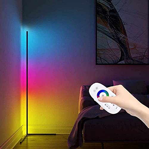 KOKOMALL Lampara pie LED,RGB Lamparas de Esquina de pie com Controlo Remoto,Lámpara pie Moderna Color Decoracion Dormitorio Salón 20W-Negro