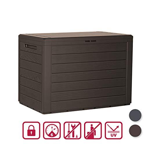 Kreher Kompakte Kissenbox/Aufbewahrungsbox mit 190 Liter Nutzvolumen. Robust, abwaschbar und einfach im Aufbau! (Braun)