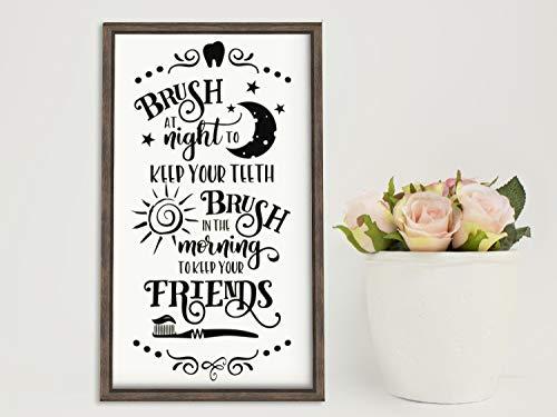 Ad4ssdu4 Badezimmer-Wanddekoration, Badezimmer-Wandaufkleber, lustige Vinyl-Buchstaben oder Holz-Schablone für Kinder, bürsten Sie Ihre Zähne, 20cm*30cm