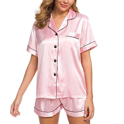 YLXB Pijama de satén de Seda para Mujer, Conjunto de Pijama de Manga Corta, Ropa de Dormir, Pantalones Cortos, Traje de Pijama para Mujer, Conjunto de Dos Piezas para Dormir, Ropa para el hogar