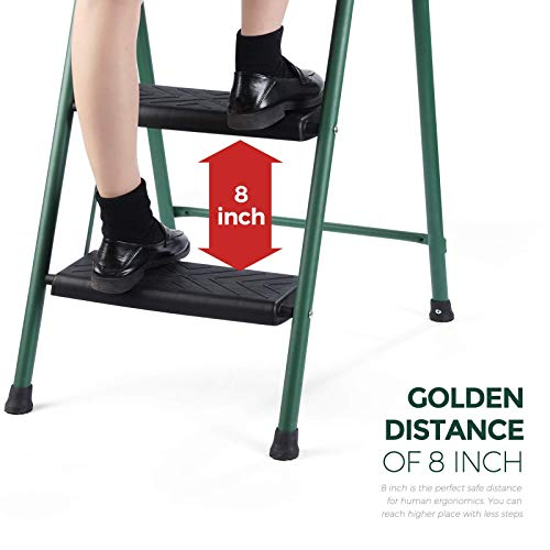 Delxo 3 Step Stool,Lightweight But Sturdy Step Ladder Folding Step Stool with Wide Pedal to Reach High, Easy to Fold and Store Compact 3 Step Ladder for Kitchen,Pantry,Laundry.Hold Up to 330Lbs Green