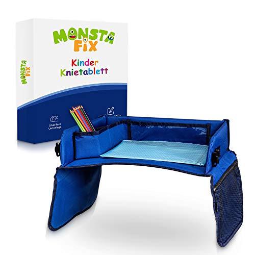 Monstafix® Kinder Reisetisch Auto – Doppelseitiges Knietablett – Einstellbares Reisetablett – Inklusive Papier und Buntstiften – 100% Komfort (Blau)