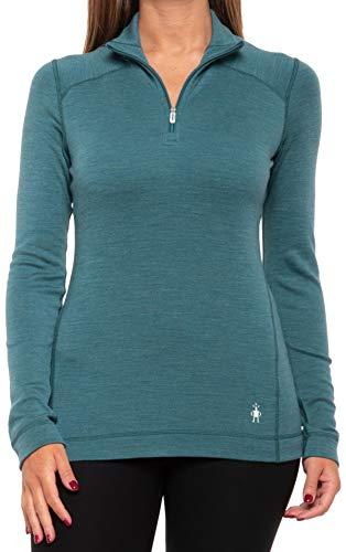Smartwool Women's Base Layer Top - Merino 250 Wool Active 1/4 Zip Outerwear (Mediterranean Green Heather, Medium)