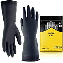 """Chemical Resistant Gloves,Safety Work Cleaning Protective Heavy Duty Industrial Gloves,Natural Latex 12.2"""" Length Black 1 ..."""