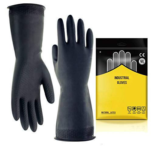 "Chemical Resistant Gloves,Safety Work Cleaning Protective Heavy Duty Industrial Gloves,Natural Latex 12.6"" Length Black 1 Pair Size L"