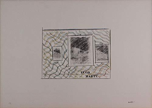 Franco Angeli, Ecco Marte, Lithographie signiert und nummeriert