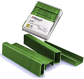 Rexel JOY Coloured Staples, 26/6 No.56, Pack of 2000, Green Color
