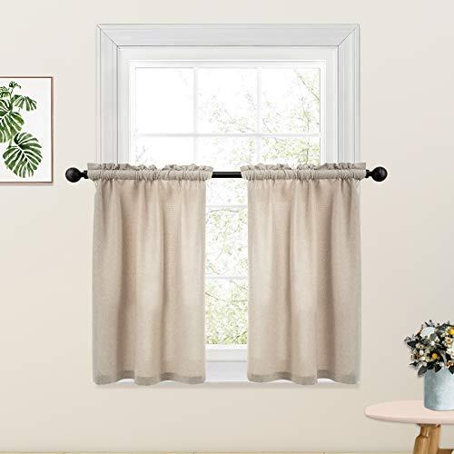 Beige Tier Curtains Linen Textured Kitchen Window 30 inches Long Short Cafe Curtains Bathroom Basement Half Window Curtain 2 Panels Rod Pocket