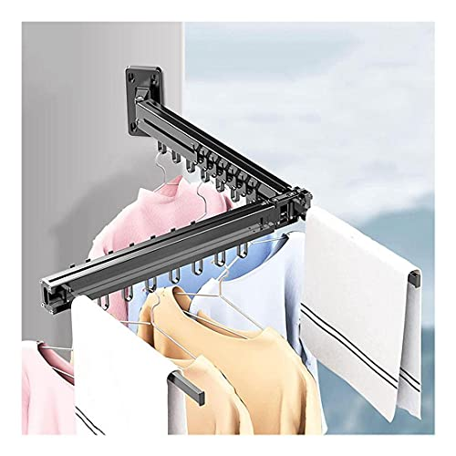 ZXSZX VIIPOO Tendedero para Secadora Ropa Montado Pared Retráctil - Tendedero para Secado Ropa Plegable para Interiores o Exteriores - Ahorro de Espacio Diseño Compacto y Elegante,Black
