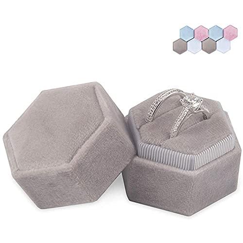 Aexle Caja de anillo hexagonal de terciopelo – Soporte de anillo doble para compromiso, boda, ceremonia, expositor y almacenamiento de anillos (gris)