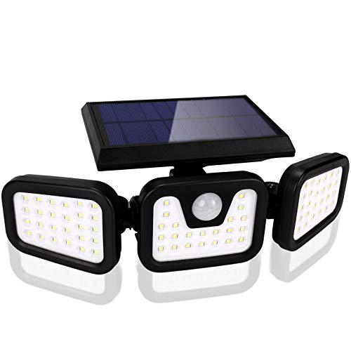 BLOOMWIN Luz Solar Exterior con Sensor de Movimiento Foco Solar Exterior 3 Cabezales 3 Modos 74 LED 360º lluminación Impermeable Aplique de Pared Lampara de Seguridad para Jardín Patio Garaje Camino